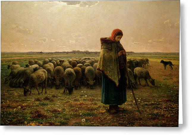 Flock Greeting Cards - Shepherdess with her Flock Greeting Card by Jean Francois Millet