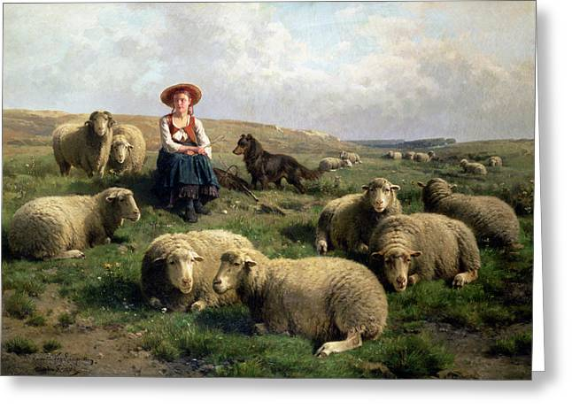 Herder Greeting Cards - Shepherdess with Sheep in a Landscape Greeting Card by C Leemputten and T Gerard