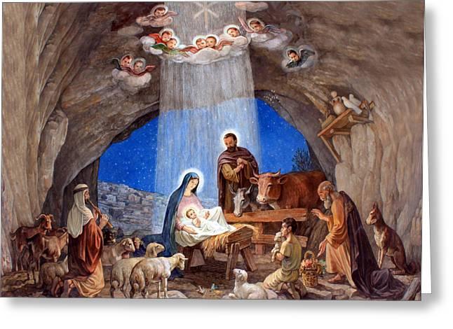 Paint Drawings Greeting Cards - Shepherds Field Nativity Painting Greeting Card by Munir Alawi