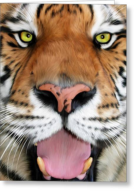 Art Product Greeting Cards - ShereKhan Greeting Card by Big Cat Rescue