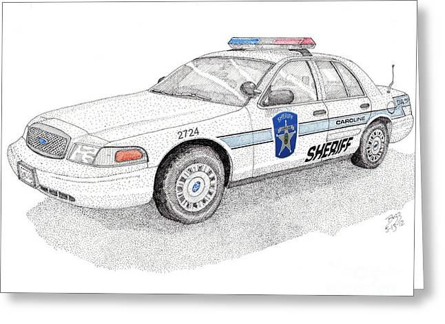 Sheriff Car 2724 Greeting Card by Calvert Koerber