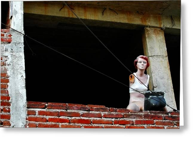 Mannequin Greeting Cards - Shes a Brick House Greeting Card by Skip Hunt