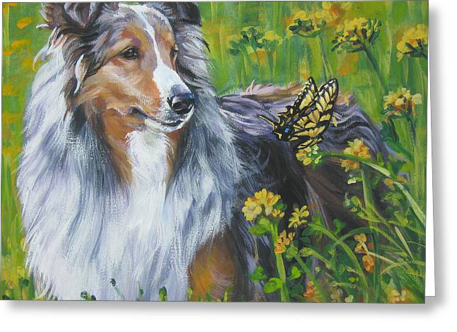 Shetland Dog Greeting Cards - Shetland Sheepdog Wildflowers Greeting Card by L A Shepard