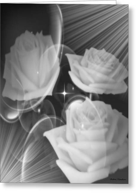 Twinkle Mixed Media Greeting Cards - Shimmer Of The Roses Greeting Card by Debra     Vatalaro