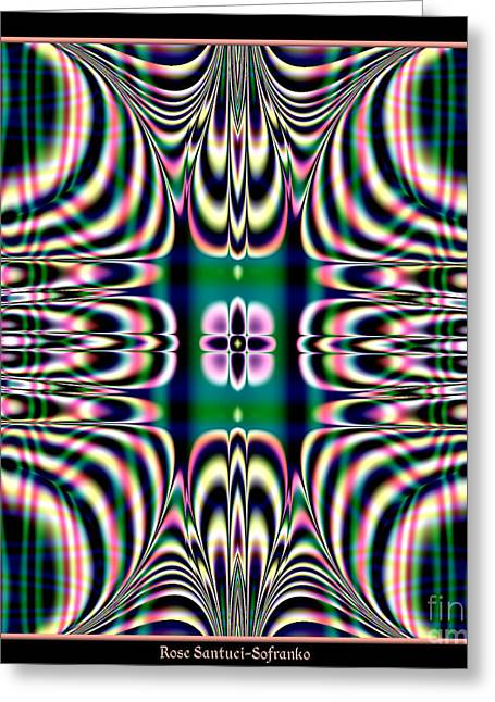 Shimmering Plaid Fractal 66 Greeting Card by Rose Santuci-Sofranko