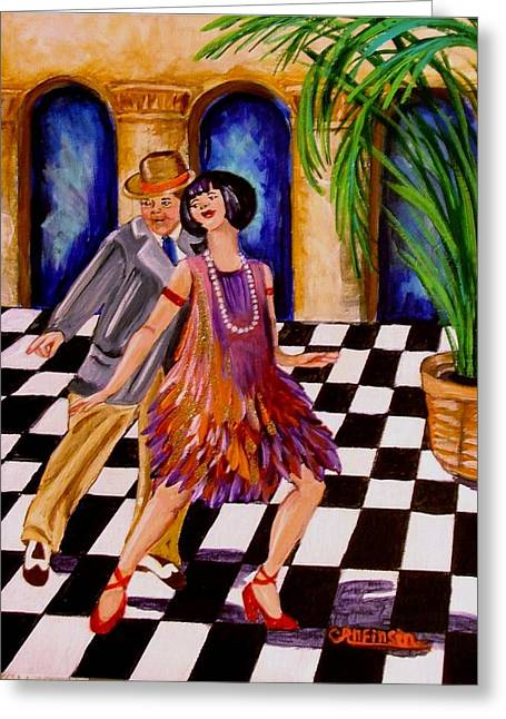 Checkerboard Floor Greeting Cards - Shimmy-Shake Greeting Card by Carol Allen Anfinsen