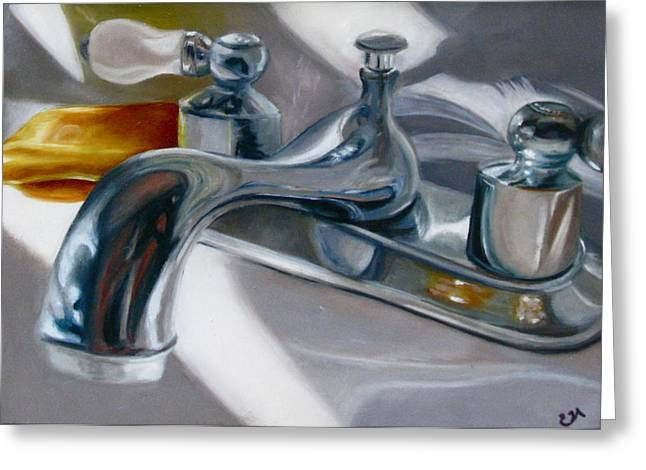 Faucet Paintings Greeting Cards - Shine Greeting Card by Erin Hardin