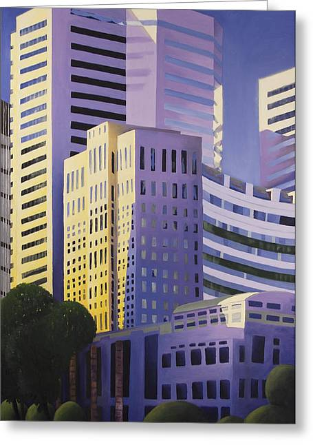Montreal Urban Landscapes Greeting Cards - Shining Towers Greeting Card by Duane Gordon