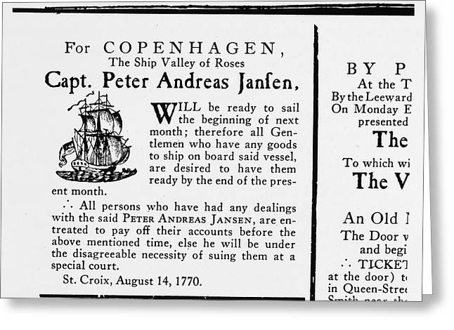 Merchant Ship Greeting Cards - Ship Announcement, 1770 Greeting Card by Granger