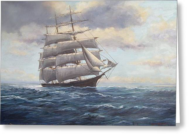 Square Rigger Greeting Cards - Ship Coming out of Morning Fog Greeting Card by Perrys Fine Art