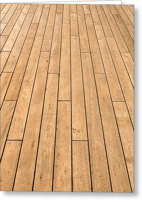 Laminated Board Greeting Cards - Ship Deck used for Background Greeting Card by Brandon Bourdages