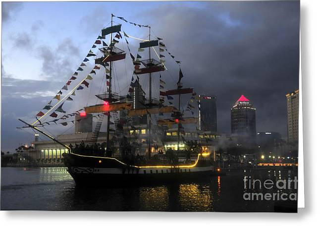 City Lights Greeting Cards - Ship in the Bay Greeting Card by David Lee Thompson