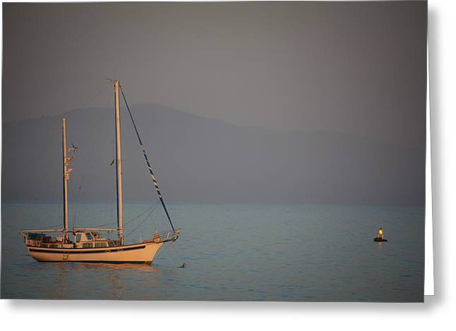 Ship In Warm Light Greeting Card by Ralf Kaiser