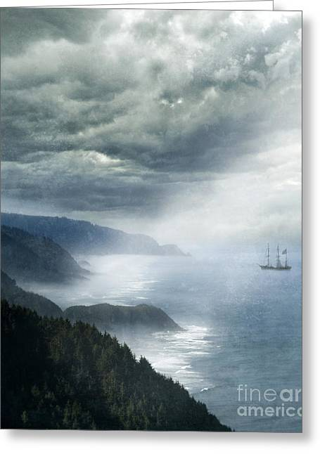 Boat Cruise Greeting Cards - Ship Off Rugged Coast Greeting Card by Jill Battaglia
