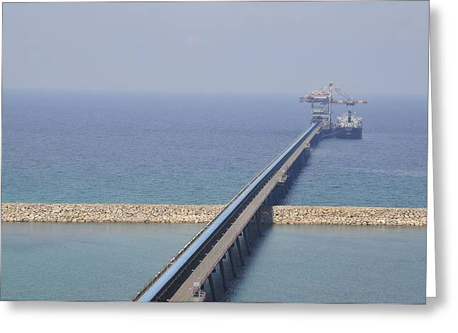 Public Water Supply Greeting Cards - Ship Unloads Coal At The Pier Greeting Card by Photostock-israel