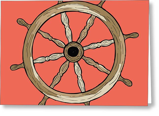Steering Drawings Greeting Cards - Ship Wheel Greeting Card by Karl Addison