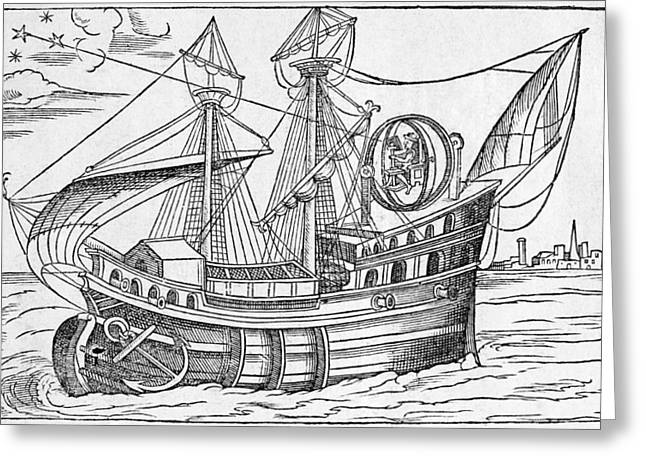 Mounting Greeting Cards - Ship With Gimballed Chair, 16th Cent. Greeting Card by Middle Temple Library