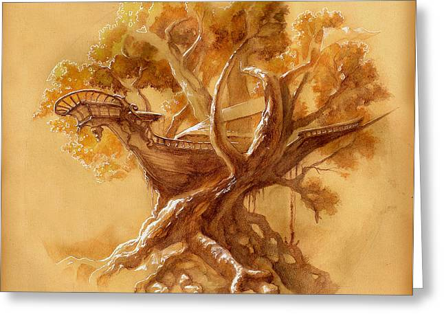 Tree Roots Drawings Greeting Cards - Ship Wreck in a Tree sketch Greeting Card by Schel Harris
