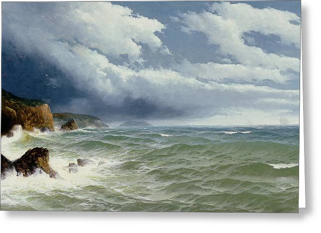 James Paintings Greeting Cards - Shipping in Open Seas Greeting Card by David James