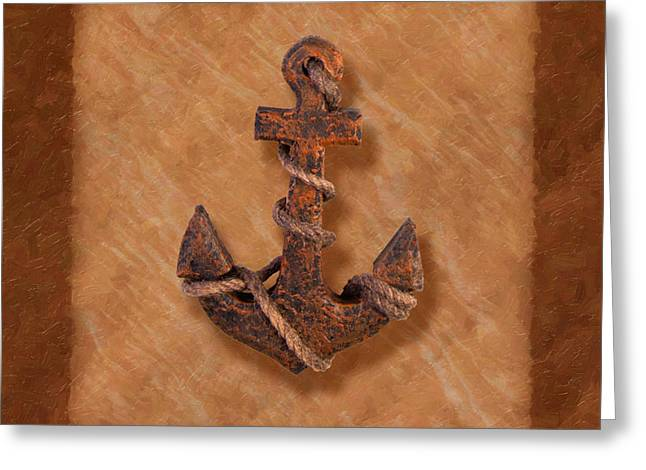 Earth Tone Photographs Greeting Cards - Ships Anchor Greeting Card by Tom Mc Nemar