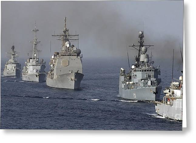 Strike Group Greeting Cards - Ships Assemble In A Formation Greeting Card by Stocktrek Images
