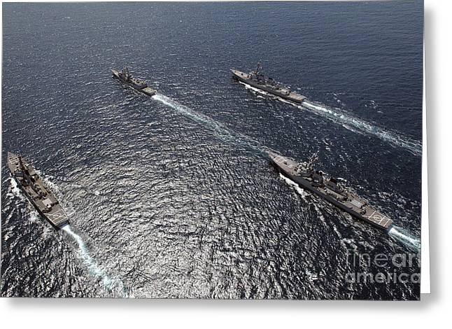 Strike Group Greeting Cards - Ships Assemble In Formation Greeting Card by Stocktrek Images