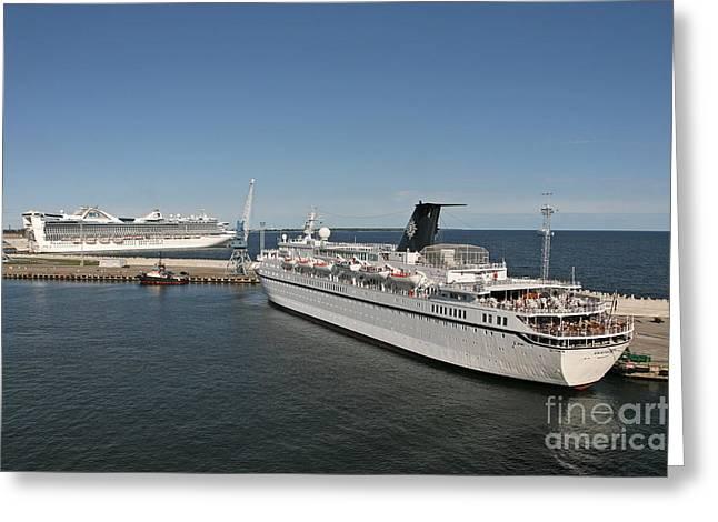 Ships At Port Greeting Card by Jaak Nilson