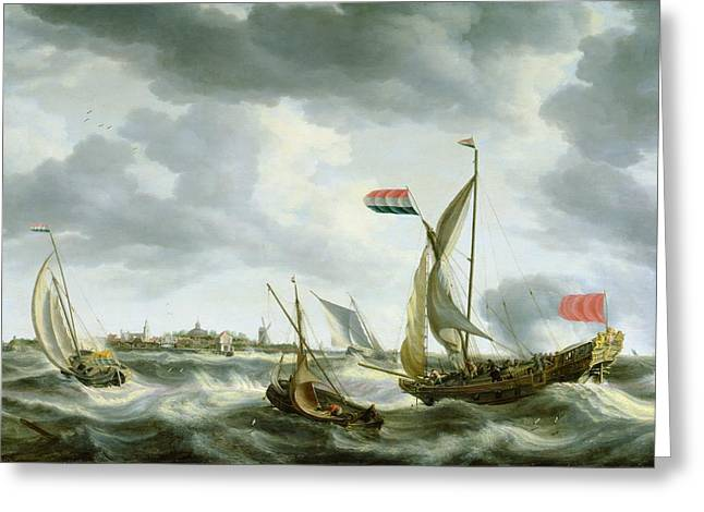 Ocean Spray Greeting Cards - Ships at Sea  Greeting Card by Bonaventura Peeters