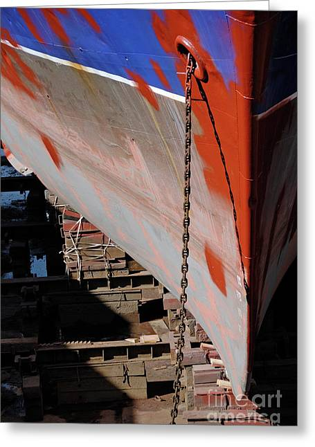 Cape Town Greeting Cards - Ships bow being repaint Greeting Card by Sami Sarkis
