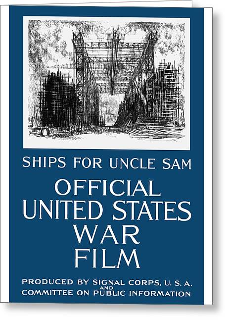 Wwi Greeting Cards - Ships For Uncle Sam Greeting Card by War Is Hell Store