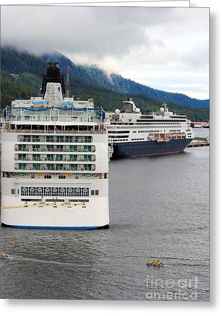 Ketchikan Greeting Cards - Ships in Ketchikan Alaska Greeting Card by Sophie Vigneault