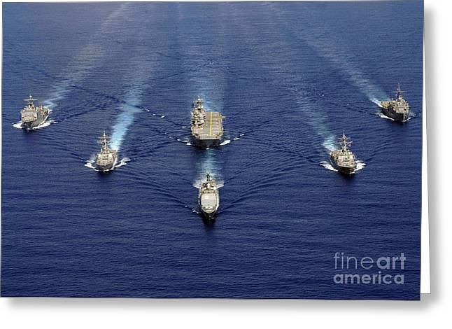 Strike Group Greeting Cards - Ships Of The Nassau Strike Group Greeting Card by Stocktrek Images