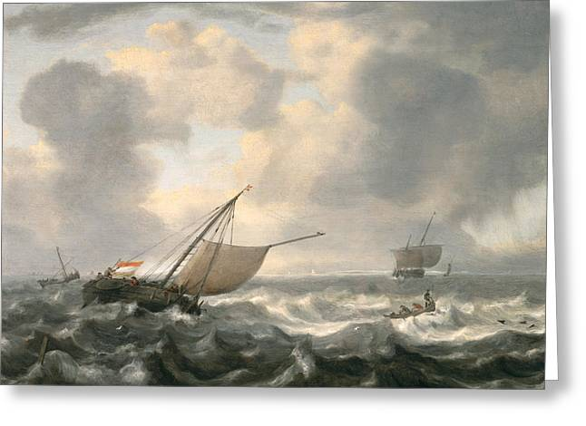 Sun Breaking Through Clouds Greeting Cards - Ships on a Choppy Sea Greeting Card by Hendrik van Anthonissen