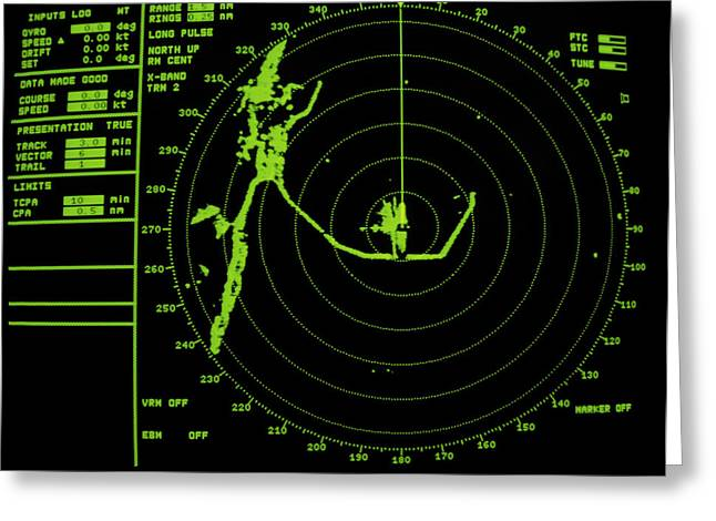 Radar Greeting Cards - Ships Radar Screen While In Port Greeting Card by David Parker