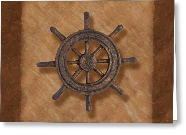 Earth Tone Photographs Greeting Cards - Ships Wheel Greeting Card by Tom Mc Nemar