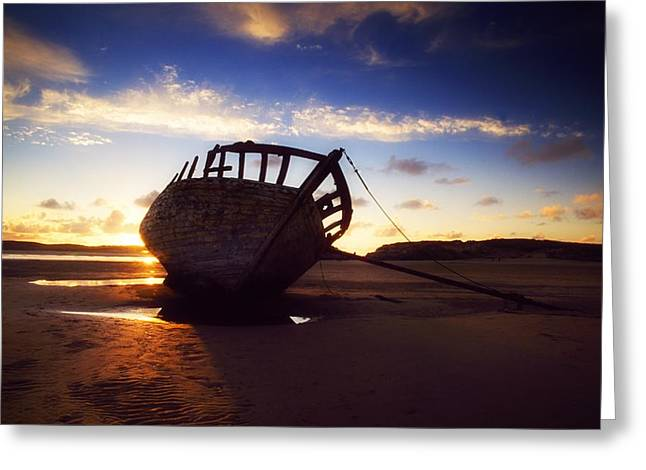 Sailing At Night Greeting Cards - Shipwreck At Sunset, Co Donegal, Ireland Greeting Card by The Irish Image Collection