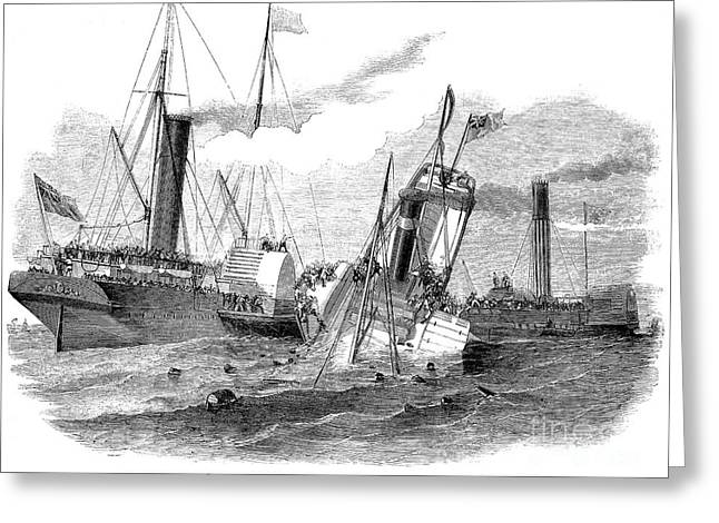 Duchess Greeting Cards - Shipwreck: Collision 1852 Greeting Card by Granger