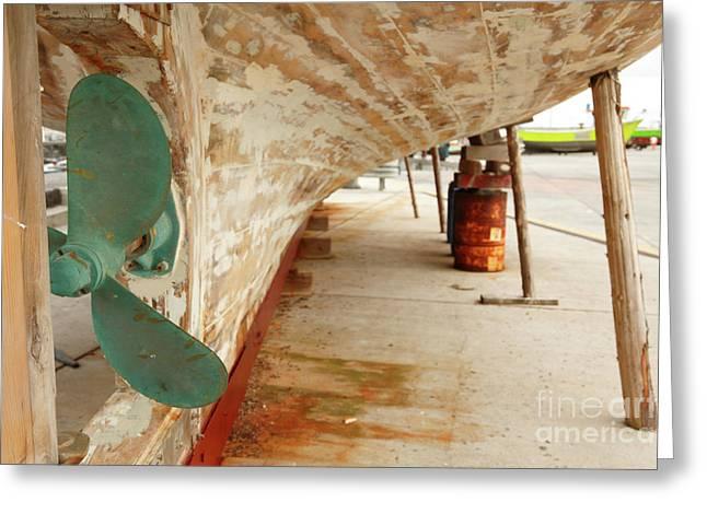 Propeller Greeting Cards - Shipyard Greeting Card by Gaspar Avila