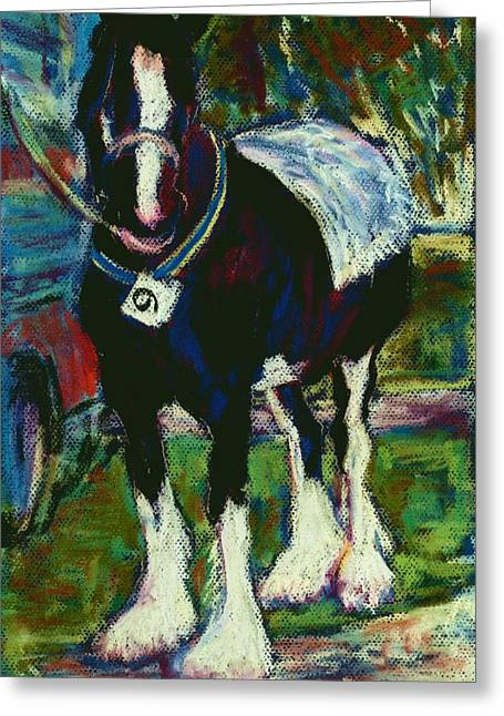 Rally Pastels Greeting Cards - Shire Horse at Abergavenny Rally Greeting Card by Judy Adamson