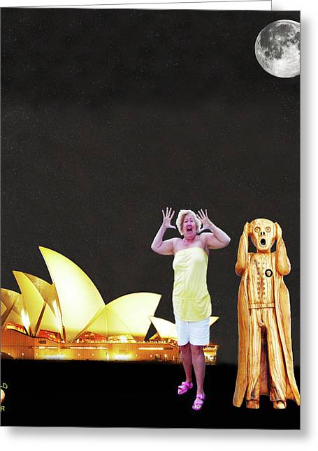 Petra Mixed Media Greeting Cards - Shirley Screams at the Sydney opera house Greeting Card by Eric Kempson