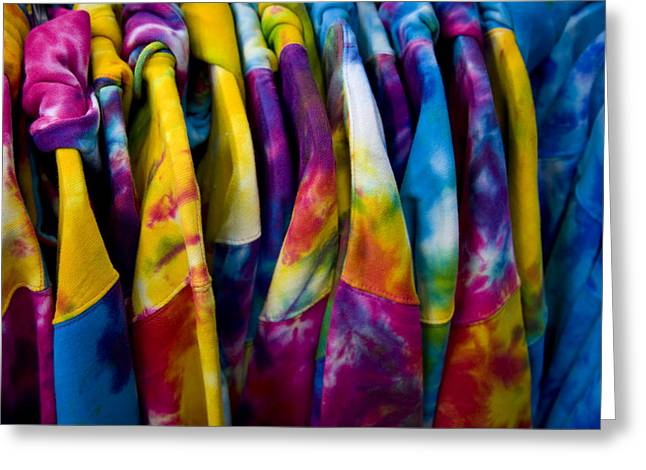 Dyeing Greeting Cards - Shirts With Bright Tie-dye Colors Await Greeting Card by Stephen St. John