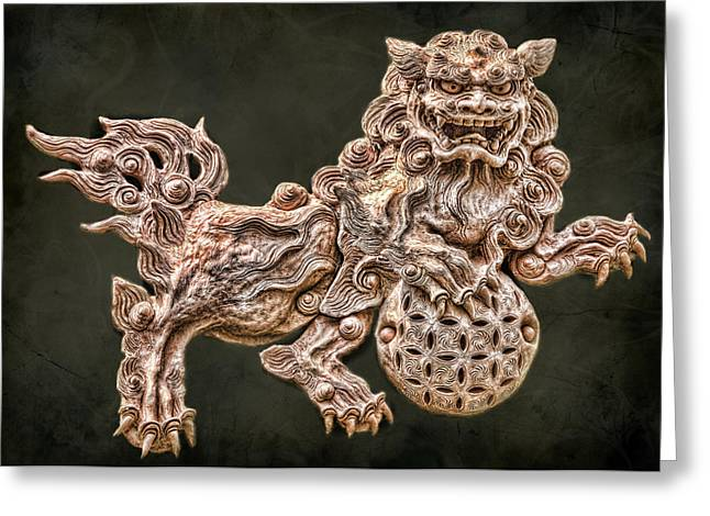 Karen Walzer Greeting Cards - Shisa Greeting Card by Karen Walzer