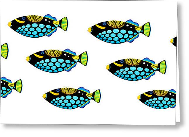 Triggerfish Paintings Greeting Cards - Shoal of Clown Triggerfish  Greeting Card by Opas Chotiphantawanon