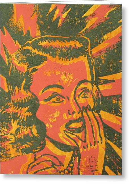 Block Print Art Mixed Media Greeting Cards - Shocked Black and Yellow on Red Greeting Card by Andrew Wales