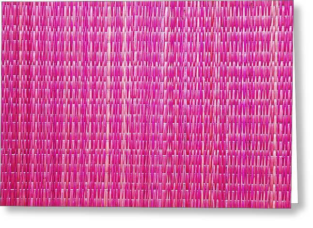 Shocking Pink Woven Raffia Greeting Card by Kantilal Patel