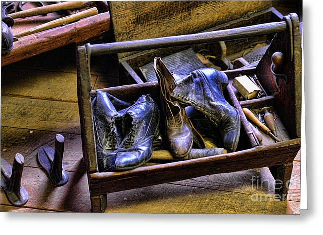 Wood And Leather Greeting Cards - Shoe - The shoe cobblers box Greeting Card by Paul Ward