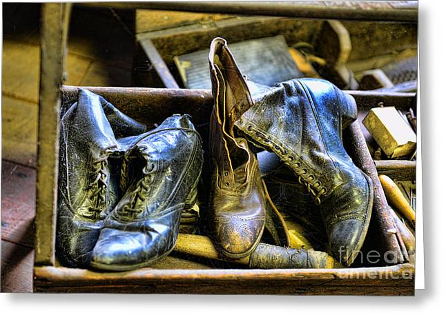 Wood And Leather Greeting Cards - Shoe - Vintage Ladies Boots Greeting Card by Paul Ward
