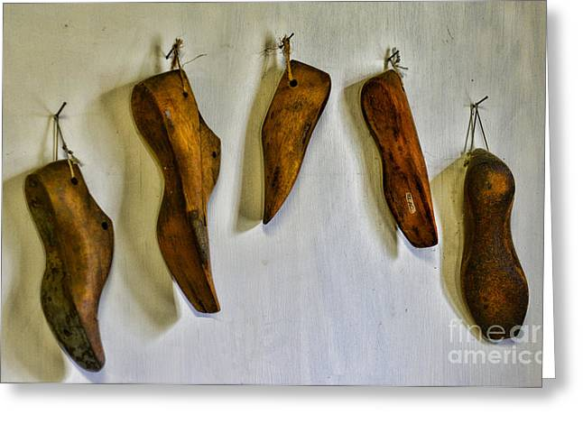 Wood And Leather Greeting Cards - Shoe - wooden shoe forms Greeting Card by Paul Ward