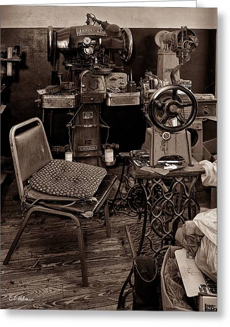Shoe Repair Greeting Cards - Shoe Hospital - Sepia Greeting Card by Christopher Holmes