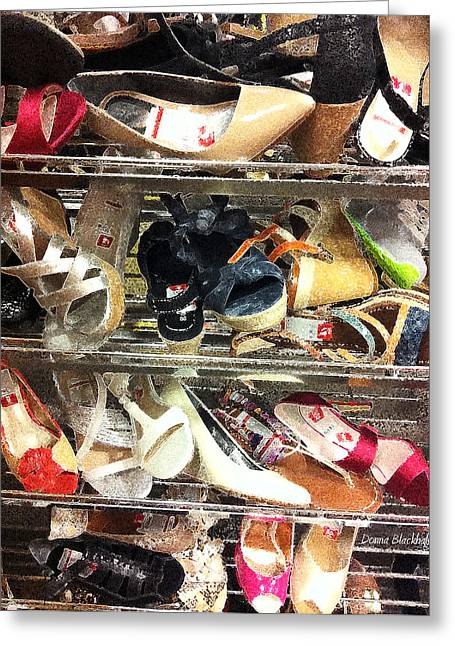 Shoe Sale Greeting Card by Donna Blackhall